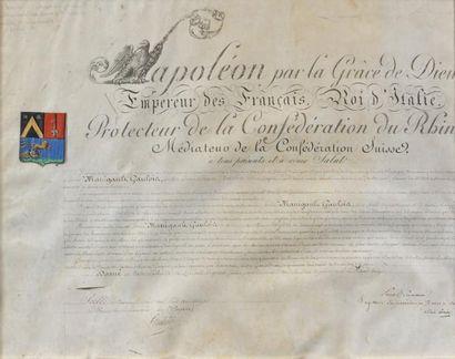 Brevet de Baron d'Empire sur parchemin, décerné...