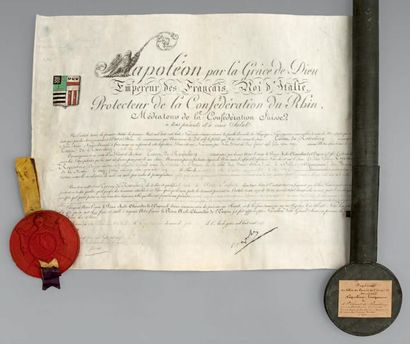 Brevet de Comte de l'Empire sur parchemin,...