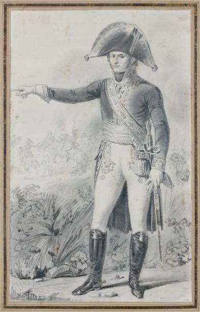 Dessin au crayon: Portrait du général Leclerc,...
