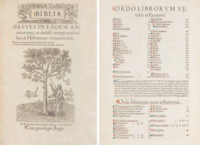 [BIBLE]. Biblia. Breves in eadem an-//notationes,...