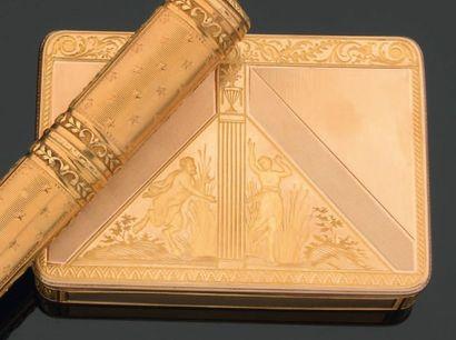 Tabatière rectangulaire en or, la bordure...