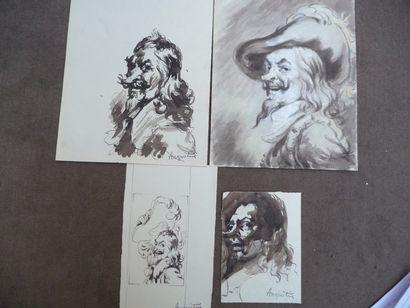 Cyrano Lavis, 22 x 13,5 cm. Lavis et rehauts...