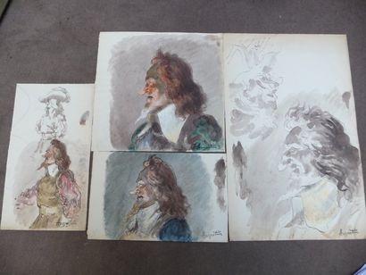 Cyrano de Bergerac Aquarelle 14 x 24,5 -...