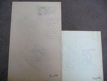 Renaud et Armide - circa 1904 Dessin au crayon...