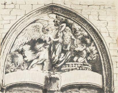 Tympan de l'église d'Etrépagny - circa 1894...