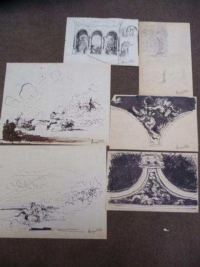 Paysages - Etudes de décors - Instruments...