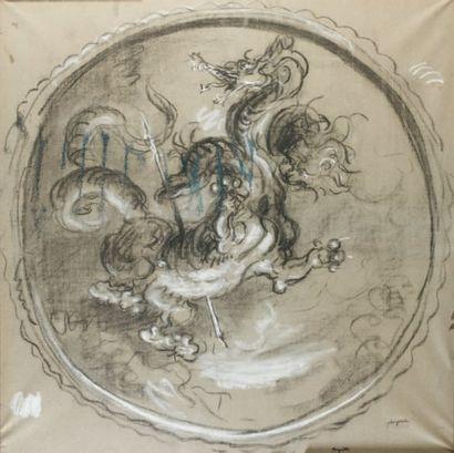 Dragon Fusain et craie, 98 x 98 cm Signé...