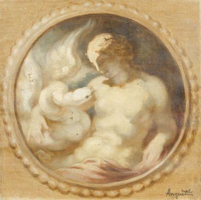 Léda et le cygne Huile sur toile, 25 x 26...