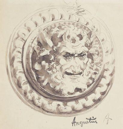 Faune Lavis, 16 x 15,5 cm Signé du cachet...