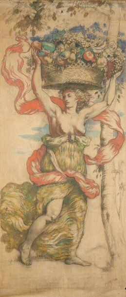 Femme à la corbeille de fruits Toile peinte,...
