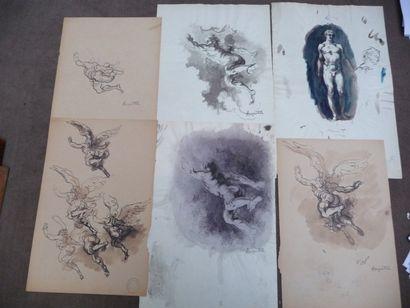 Le vol de l'ange - 1918 Trois dessins à l'encre,...