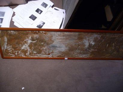 Diane à la chasse Gouache, 24 x 106 cm Signée...
