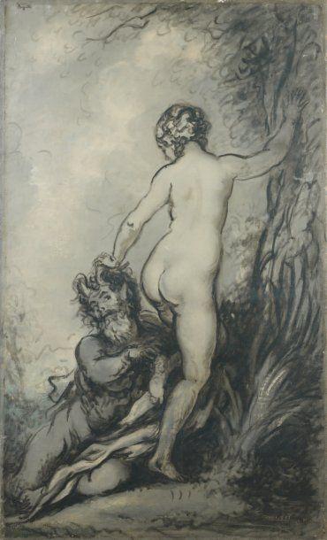 Faune et nymphe en grisaille Huile sur toile,...
