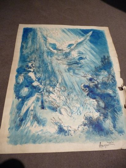 La Victoire - 1918 Aquarelle, 35,5 x 28 cm...