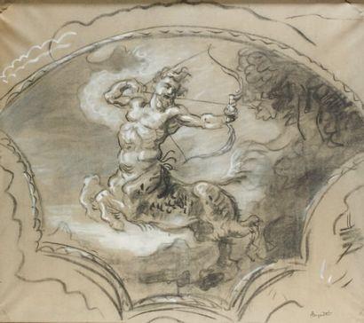 Centaure Fusain et craie, 80 x 100 cm Signé...