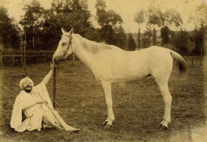 Photographie inédite Portrait présumé de Lautrec et la jument de Le Couteulx de...