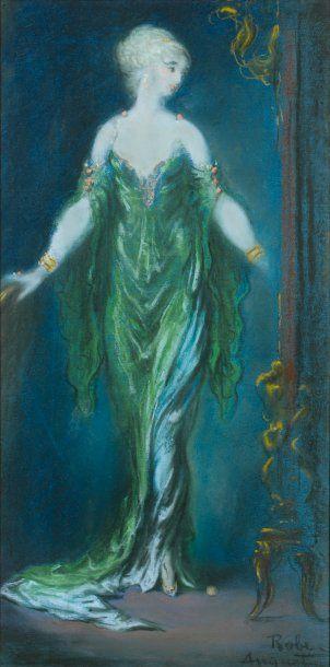 Femme près d'une torchère Pastel, 49 x 24,5...