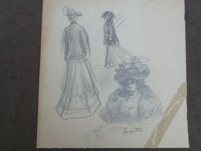 Elégante à la canne, crayon, 31 x 25 cm Croquis...
