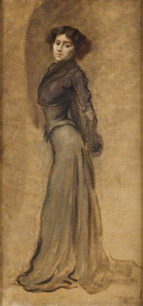 Elégante Huile sur toile, 74 x 36 cm Signée...