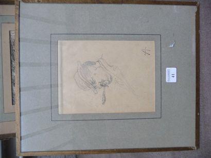 Portrait d'homme au fume cigarette Dessin à la mine de plomb, 14 x 10,5 cm Signé...