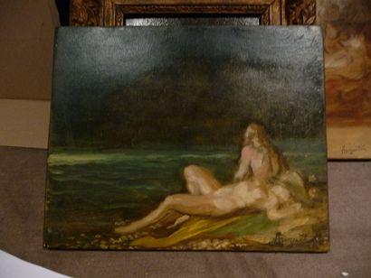 Couple nu - circa 1891-1894 Huile sur panneau,...