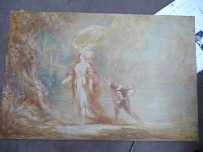 Elégante à l'ombrelle Huile sur toile, 53,5 x 81 cm Signée en bas à droite du cachet...