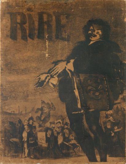 Le Rire - 1895 Affiche marouflée, contre-signée...