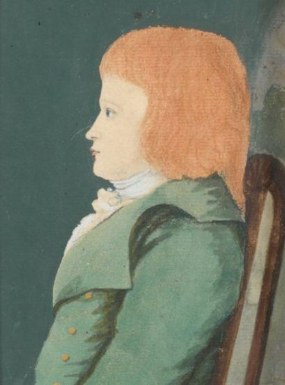 Ecole FRANCAISE vers 1800 Portrait de Louis XVII de profil Aquarelle et sanguine...