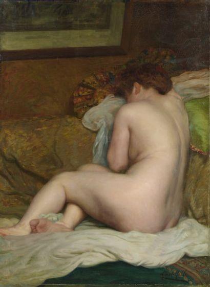 Albert MILLE (XIXème - XXème siècle) Nu endormi Huile sur toile, signée en bas à...