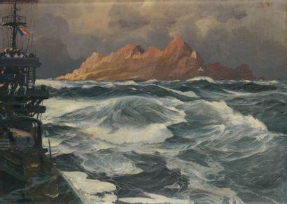 Jean-Louis PAGUENAUD (1876-1952) Le passage du Cap Horn Huile sur panneau, signée...