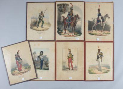 Sept gravures coloriées, d'uniformes du Premier...