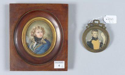 Une miniature ovale sur ivoire: Portrait...