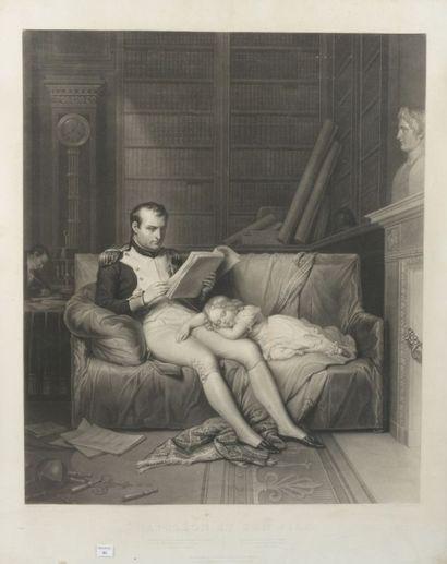 Grande gravure encadrée, Napoléon et son...