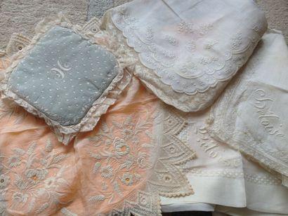 Beaux mouchoirs en linon fil de main brodé,...