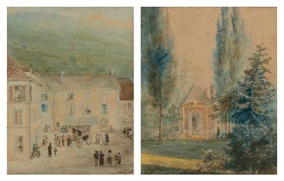 Charles CICERI (Saint-Cloud 1782 - Saint-Chéron 1868) Pavillon dans un parc Scène...