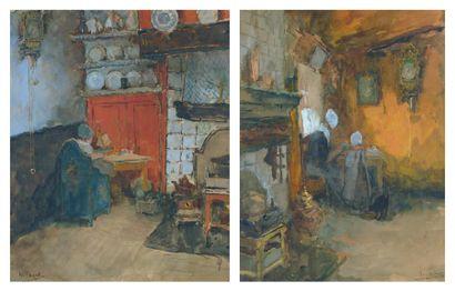 Henri STACQUET (Bruxelles 1838 - Schaerbeek 1906) Un enfant faisant ses devoirs près...