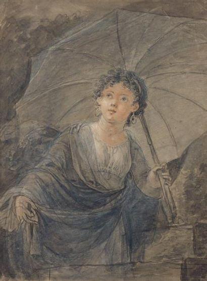 École FRANÇAISE de la fin du XVIIIème siècle Jeune femme sous une ombrelle Lavis...