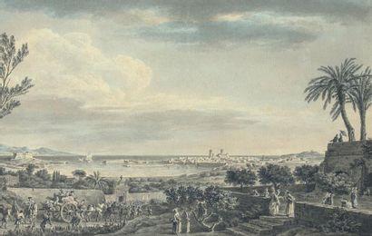 Nicolas OZANNE (Brest 1728 - Paris 1811) Vue du port d'Antibes Plume et encre noire,...