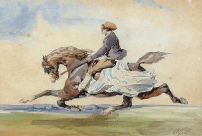 Alfred de DREUX (Paris 1810 - 1860) Cheval au galop monté par un lad Aquarelle. Monogrammé...
