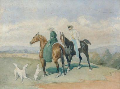 Attribué à Alfred De DREUX (1810 - 1860) Couple de cavaliers et chiens, esquisse...