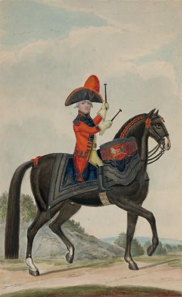 Nicolas HOFFMANN (Darmstadt 1740 - 1823) Le jeune tambour à cheval Pierre noire,...