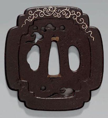 TSUBA en fer ajouré et décoré en hira-zogan...