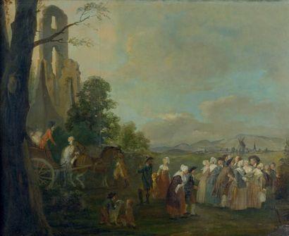 Ecole FRANCAISE du début du XIXème siècle, suiveur de Louis WATTEAU de LILLE