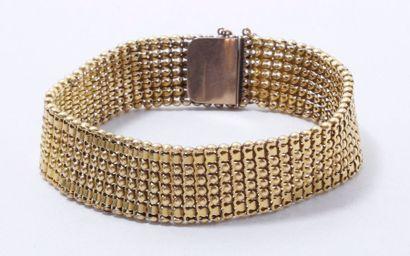 Bracelet souple en or 18 K, maille fantaisie,...
