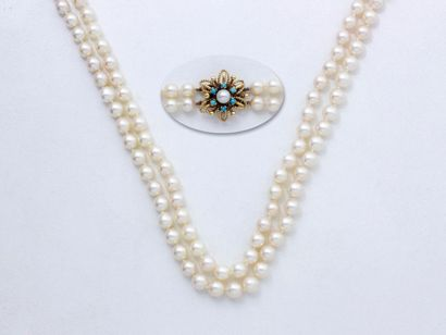 Collier composé de 2 rangs de perles de culture...