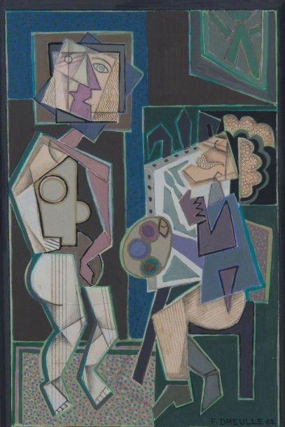 Le peintre et son modèle 1962 Aquarelle et...