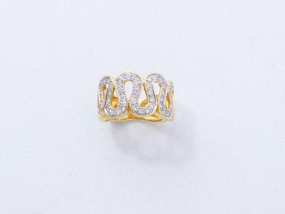 Bague jonc en or 18 K, composée de huit diamantés.Poids...