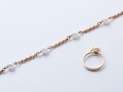 Parure en or 18 K et perles de culture, composée...