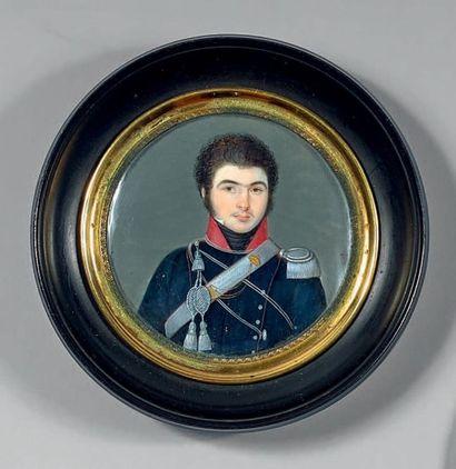 Miniature ronde sur ivoire: Portrait du Baron...