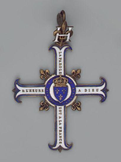 Croix légitimiste en vermeil, émaillée blanc,...